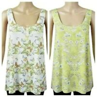 New Next Womens Ladies Summer Floral Yellow Lime Butterfly Vest Top