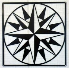 """Mariners Compass Pattern - Barn Quilt - White Metal 24"""" x 24"""" Quilt Block Sign"""