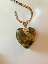Amber Heart Pendant On Sterling Silver by BleuVerd Group