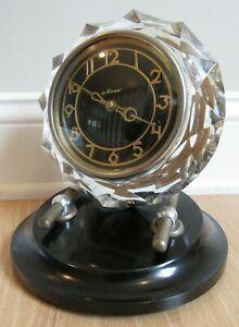 MAJAK Mantel Clock USSR Soviet Union CRYSTAL glass VINTAGE shelf desk WORKS!