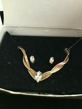 """Avon Gold Tone and Simulated Diamond Necklace 18"""" and Earring Set - New in Box!"""