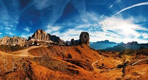 Quadro legno 59 x 32 cm stampa in alta qualità paesaggi Veduta Dolomiti Italiane