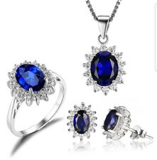 Blue Sapphire Ring , Earrings &  Necklace set mothers day gift idea free postage