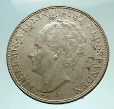 1939 Netherlands Queen WILHELMINA 2.5 Gulden Authentic DUTCH Silver Coin i76148