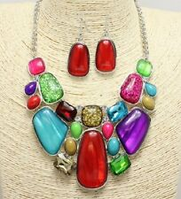 Silver and Multi Colored FASHION Statement Necklace Set