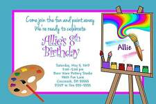 Paint Painting Birthday Party Invitation Boy or Girl Any Colors Add Photo