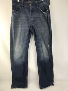 American Eagle Jeans  Low Loose Men's Size 32/34 Distressed Mid-Wash Denim