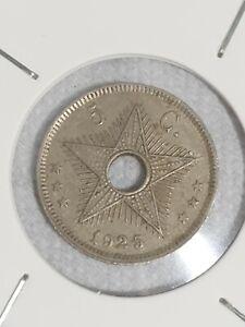 BELGIAN CONGO 5 c 1925 KM17 Cu-Ni Heaton Albert I KEY DATE above average RARE !