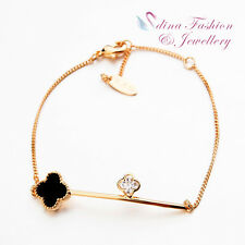18K Rose Gold Plated Simulated Diamond Exquisite Black Four Leaf Clover Bracelet