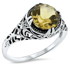 GENUINE 2 CT CITRINE ANTIQUE DESIGN 925 STERLING SILVER RING SIZE 9,  #638