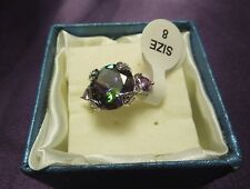 Sterling Silver Mystic Glass Crystal Ring Size 8