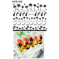 2 Sheet Nail Art Water Transfer Sticker Hawaii Palm Feather Summer Manicure  M