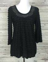 Janeric Womens Black 3/4 Sleeve Tiered Ruffled Layered Embellished Top - PM