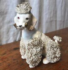 Vintage Seated White Male Poodle Dog Figurine Spaghetti Gold Trim, West Germany