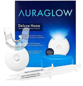 AuraGlow Teeth Whitening Kit LED Light 35% Carbamide Peroxide 2-5ml Gel Syringes