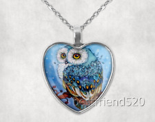 Owl Photo Tibet Silver Cabochon Glass Heart Pendant Heart Necklace#B34