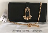NWT Michael Kors Bellamie Large East West Crystal Stone Leather Lg Clutch Black