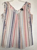 B Collection by Bobeau  Women's Sleeveless Top Blouse Size L Multicolor Striped