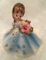 Vintage Josef Originals October Birthday Opal Birthstone Girl Figurine Crystals
