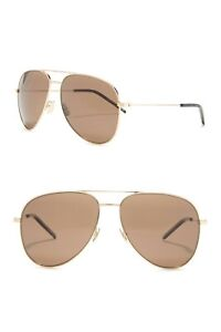 NWT Saint Laurent Classic 11 Aviator Sunglasses Brown/Gold Retail $495
