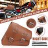 Right Side Motorcycle Saddlebag Tool Bag Luggage PU Leather Universal Brown
