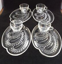 Beautiful Pressed Glass Tea Set of Four Sandwich Plates and Tea  Cups Exquisite
