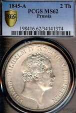 German States Prussia 1845 A 2 Talers Coin Thaler PCGS MS 62 Prf/F.Stg UNC RARE