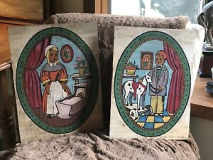 Charming! Vintage Paint By numbers Pair of Paintings Boy Girl Toy Horse Doll