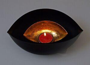 Tea Light Holder Gold and Black Metal Candle Vintage 21 cm Table Top Modern New