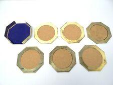 Mid-Century Modern Decorative Cork Gold Color Metal Octagon Set 6 Drink Coasters