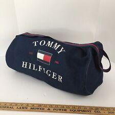 Vintage 90s Tommy Hilfiger Duffle Spellout Logo Gym Sport Bag Flag Navy Blue