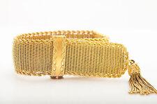 "Vintage 1940s RETRO UNIVERSAL Ladies 8"" 18k Gold Ribbon Bracelet Watch 8"" 101g"