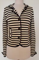 ALANNAH HILL Black/Cream Stripe Stretch 'Suicide Watch' Jacket Size 12