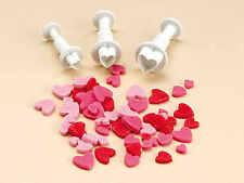 3pcs Heart Love Cookie Fondant Gum Paste Cutter Plunger  Set