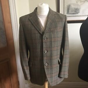 Mens Vintage Sumrie Heavy Tweed Green Mix Check Jacket Sports Blazer 40R VGC