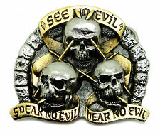 Skull Belt Buckle See Hear Speak No Evil 24ct Gold Authentic Dragon Designs