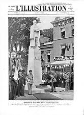 Prince Léopold de Belgique  Spa Statue Maréchal Foch Style Art Déco GRAVURE 1932