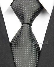 Men Wedding Silk Tie Fashion Slim Business White Black Necktie Plaid Skinny Ties
