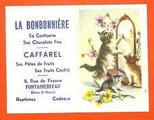 """FONTAINEBLEAU (77) CALENDRIER DE POCHE """" CONFISERIE CAFFAREL """"  CHATS CATS 1956"""