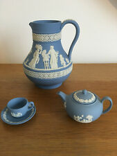 WEDGWOOD *JASPERWARE* Blue & White Teapot, Jug & Cup and Saucer