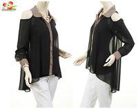 Women Black Silky Chiffon Open Shoulder Oversize Hi-Lo Tunic Blouse Shirt Top