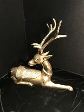 Brass Ornate Deer Stag That Could Be A Ink Well Ash Tray Trinket Mid Century