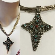 Mexico Turquiose Coral Cross Necklace Hand Made sterling Silver navajo