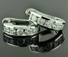 Diamond Earring Hoop Earring Made Usa 2.00ct 14k Solid White Gold Huggie Natural