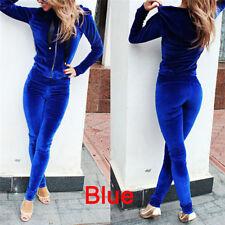 2pcs Women Tracksuit Jacket Pants Sets Sport Wear Velvet ZIPPER Suit Gym*ft S Blue