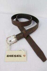 "New Diesel Women Thin Brown Leather Fashion Belt Silver Buckle 80cm S 29""-33"""