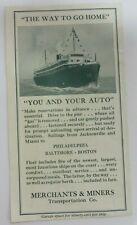 Vintage MERCHANTS & MINERS Transportation Co. Automobile Shipping Rates Brochure