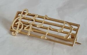 """Vintage 9ct Yellow Gold novelty bar brooch. """"Musical theme"""" .Sheffield 1975 ."""