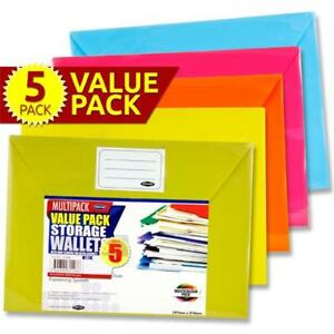 A4 Button Document Wallets. Assorted Colours. Pack of 5.