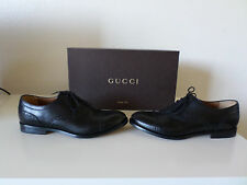 NWB Gucci Betis Glamour Black Leather Lace Up Men's Shoes Size 7